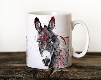 Donkey 3 Mug Watercolor Ceramic Mug Elephant Unique Gift Coffee Mug Animal Mug Tea Cup Art Illustration Cool Kitchen Art Printed mug