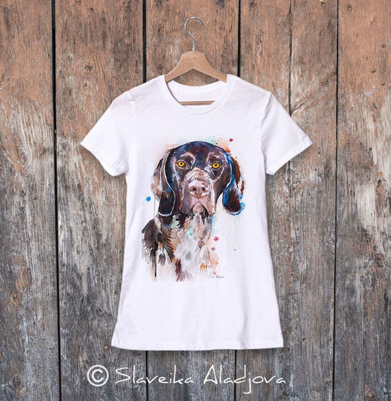 German Shorthaired Pointer watercolor ladies' T-shirt, women's tees, Teen Clothing, Girls' Clothing, ring spun Cotton 100%, watercolor print