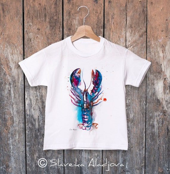 Lobster watercolor kids T-shirt, Boys' Clothing, Girls' Clothing, ring spun Cotton 100%, watercolor print T-shirt,T shirt art