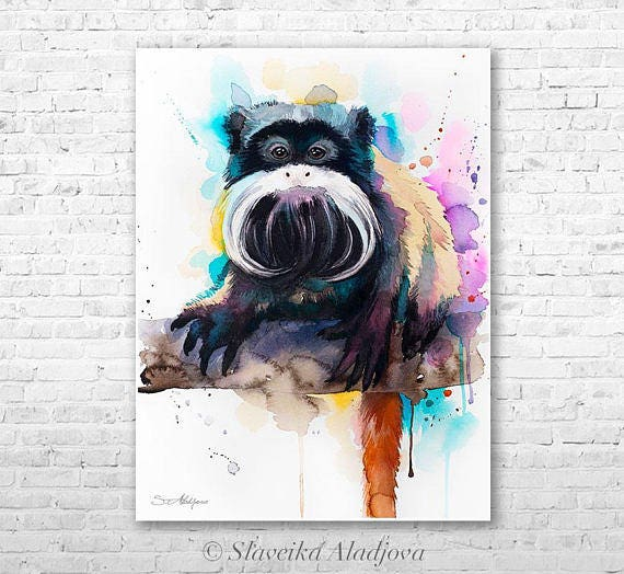 Original Watercolour Painting- Emperor Tamarin art, animal, illustration, animal watercolor, animals paintings, animals, portrait