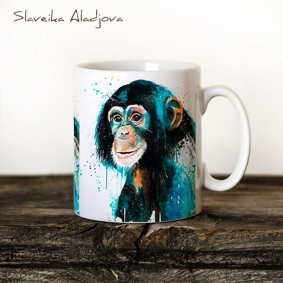 Chimp Chimpanzee 2 Mug Watercolor Ceramic Mug Unique Gift Coffee Mug Animal Mug Tea Cup Art Illustration Cool Kitchen Art Printed mug