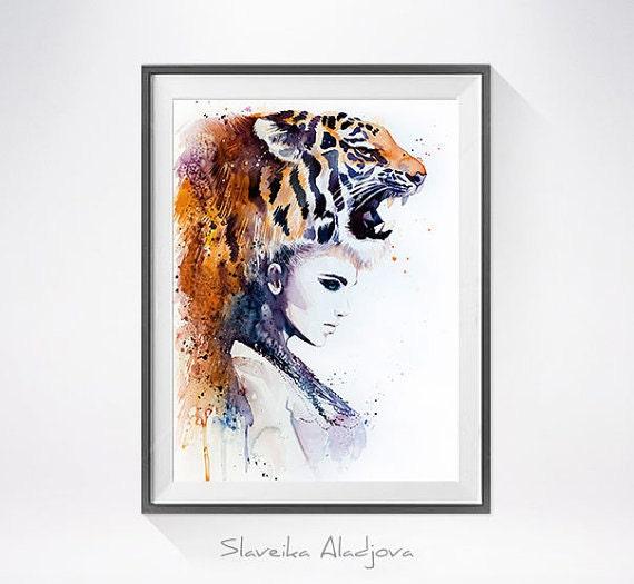 Original Watercolour Painting- Tiger Girlart, animal, illustration, animal watercolor, animals paintings, animals, portrait,