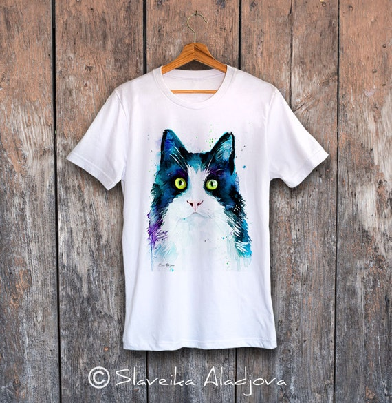 Cat T-shirt, Unisex T-shirt, ring spun Cotton 100%, watercolor print T-shirt, T shirt art, T shirt animal,XS, S, M, L, XL, XXL