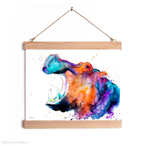 Hippo Watercolor Painting Framed, Wall Hanging print, Animal, Home Decor, Wall Art, Illustration, Ready to Hang, PRINT