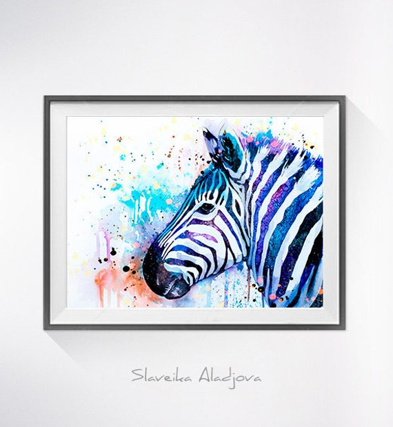 Original Watercolour Painting- Colorful Zebra  ,Zebra  art, animal illustration, animal watercolor, animals paintings, animals, portrait,