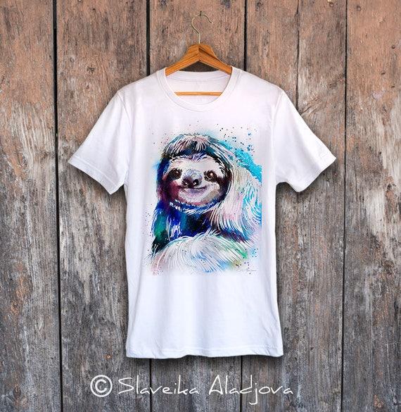 Sloth T-shirt, Unisex T-shirt, ring spun Cotton 100%, watercolor print T-shirt, T shirt art, T shirt animal, XS, S, M, L, XL, XXL