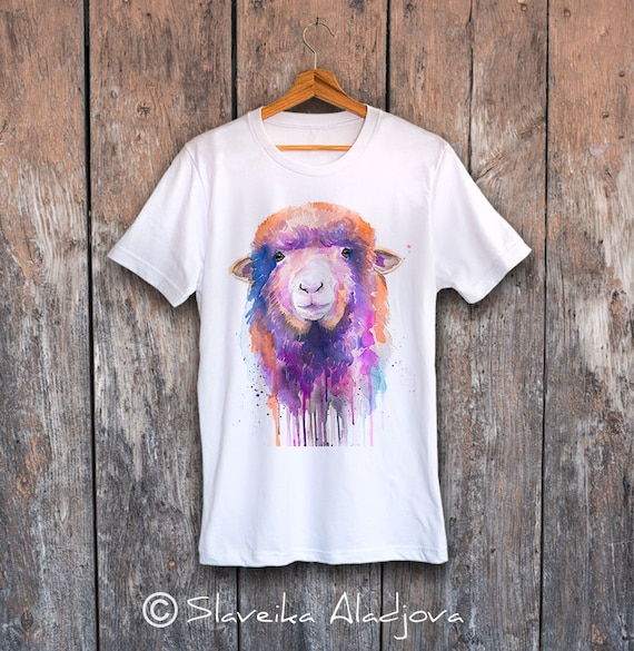 Sheep T-shirt, Unisex T-shirt with sheep print, farm animal tees, Sheep Lover Gift, watercolor print, ring spun Cotton 100%, Colourful print