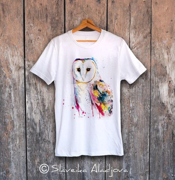 Barn owl T-shirt, Unisex T-shirt, ring spun Cotton 100%, watercolor print T-shirt, T shirt art, T shirt animal,XS, S, M, L, XL, XXL