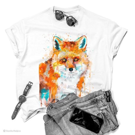 Red Fox T-shirt, Unisex T-shirt, ring spun Cotton 100%, watercolor T-shirt, T shirt art, T shirt animal, XS, S, M, L, XL, XXL