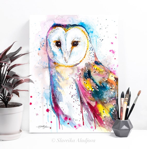 Barn owl watercolor painting print by Slaveika Aladjova, art, animal, illustration, bird, home decor, wall art, gift, portrait,