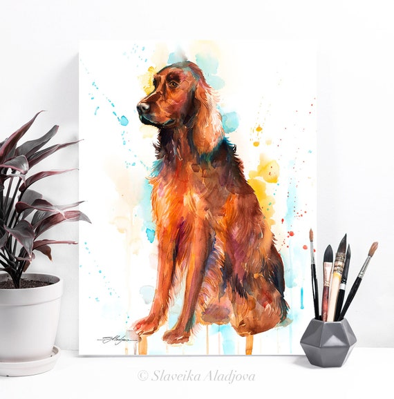 Irish Setter watercolor painting print by Slaveika Aladjova, animal, illustration, home decor, Nursery, Contemporary, dog art, wall art