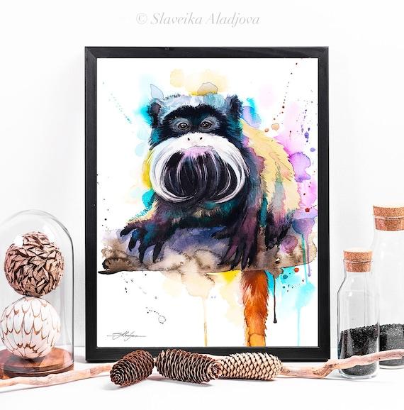 Emperor Tamarin watercolor framed canvas by Slaveika Aladjova, Limited edition, art, animal watercolor, animal illustration, art