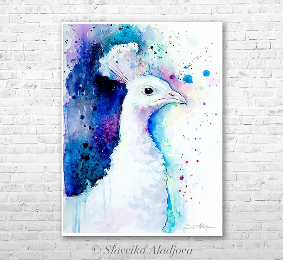 White Peacock watercolor painting print by Slaveika Aladjova, art, animal, illustration, bird, home decor, wall art, gift, Wildlife