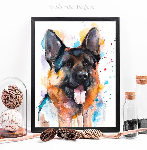 German Shepherd watercolor framed canvas by Slaveika Aladjova, Limited edition, art, animal watercolor, animal illustration, art