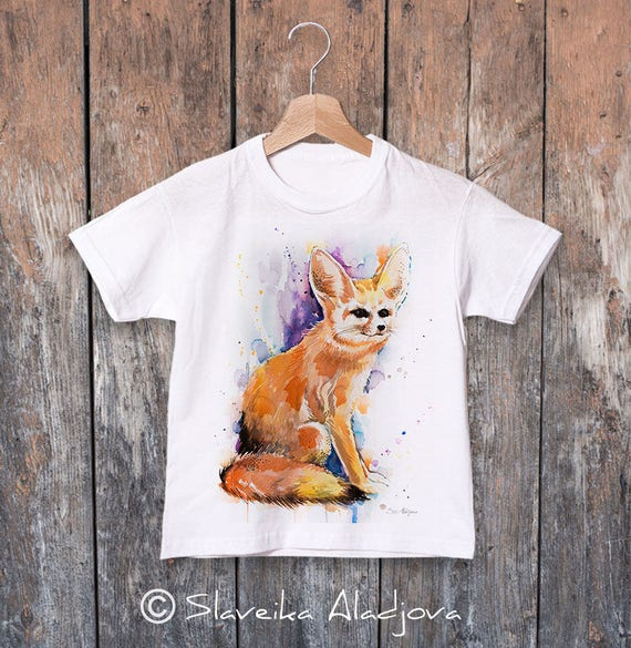Fennec Fox watercolor kids T-shirt, Boys' Clothing, Girls' Clothing, ring spun Cotton 100%, watercolor print T-shirt, T shirt art