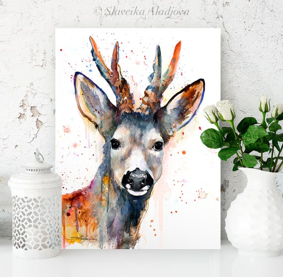 Roe deer watercolor painting print by Slaveika Aladjova, art, animal, illustration, home decor, Nursery, gift, Wildlife, wall art