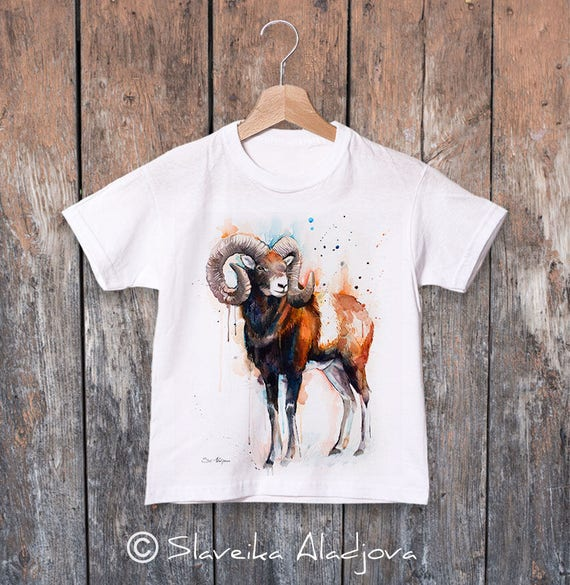 Mouflon watercolor kids T-shirt, Boys' Clothing,Girls' Clothing, ring spun Cotton 100%, watercolor print T-shirt,T shirt art