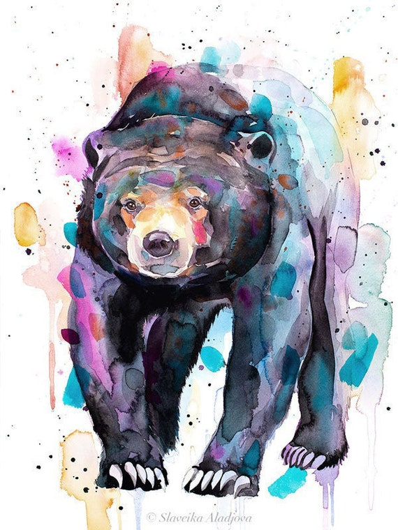 Original Watercolour Painting- Sun bear, Honey bear art, animal, illustration, animal watercolor, animals paintings, animals, portrait,