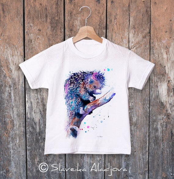 Prehensile-tailed porcupine watercolor kids T-shirt, Boys' Clothing, Girls' Clothing, ring spun Cotton 100%, watercolor print T-shirt,