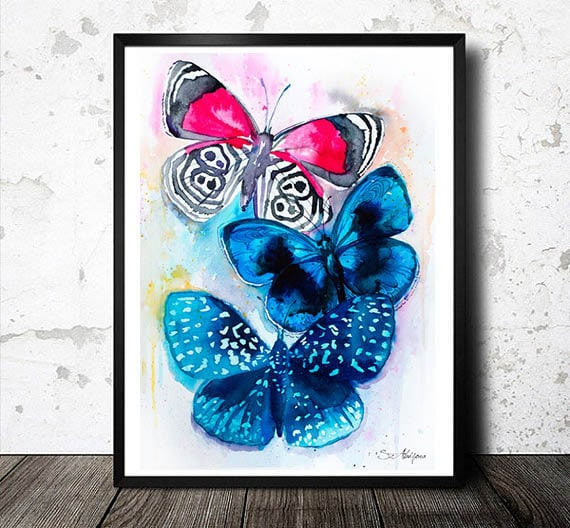 Original Watercolour Painting-Butterflies 3 , animal, illustration, animal watercolor, animals paintings, animals, portrait,