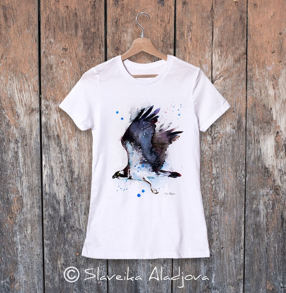 Osprey watercolor ladies' T-shirt, women's tees, Teen Clothing, Girls' Clothing, ring spun Cotton 100%, watercolor print