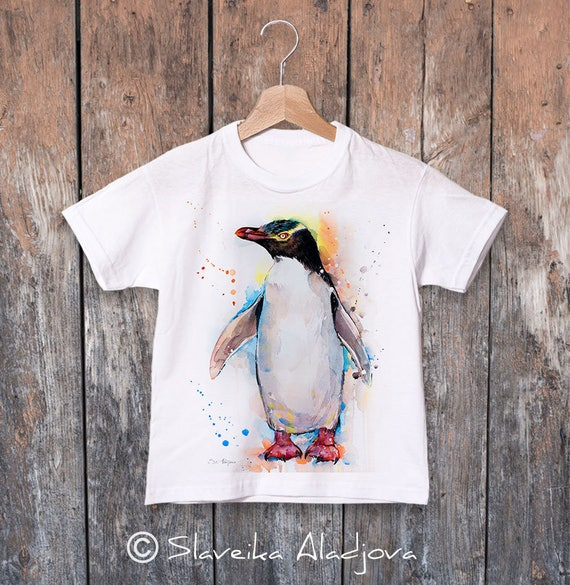 Yellow-eyed penguin watercolor kids T-shirt, Boys' Clothing, Girls' Clothing, ring spun Cotton 100%, watercolor print T-shirt, T shirt art