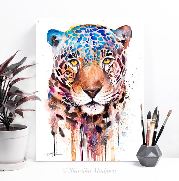 Jaguar panther watercolor painting print by Slaveika Aladjova, art, animal, illustration, home decor, Nursery, gift, Wildlife, wall art, cat
