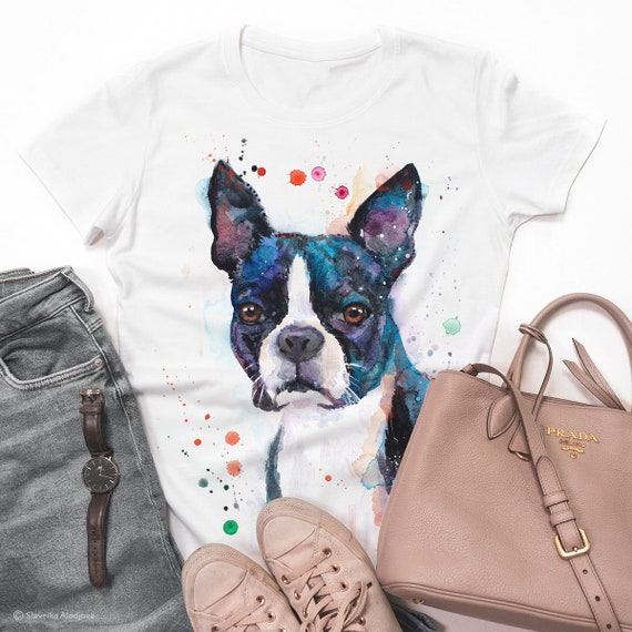 Boston Terrier T-shirt, Unisex T-shirt, ring spun Cotton 100%, watercolor print T-shirt, T shirt art, T shirt animal,XS, S, M, L, XL, XXL