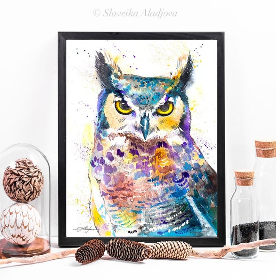 Horned Owl watercolor framed canvas by Slaveika Aladjova, Limited edition, art, animal watercolor, animal illustration,bird art