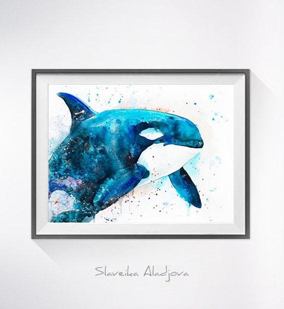 Original Watercolour Painting- Orca ,Orca art, animal illustration, animal watercolor, animals paintings, animals, portrait,