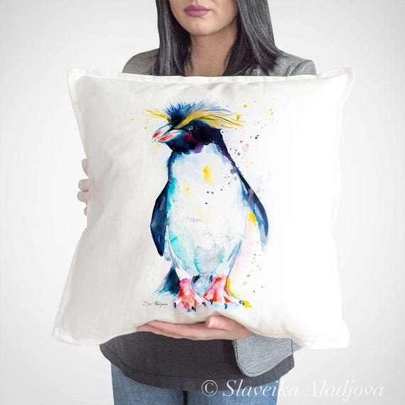 Rockhopper penguin throw pillow cover by Slaveika Aladjova, cushion cover, Decorative Pillow Cover, Animal Art, Watercolor pillow, Christmas