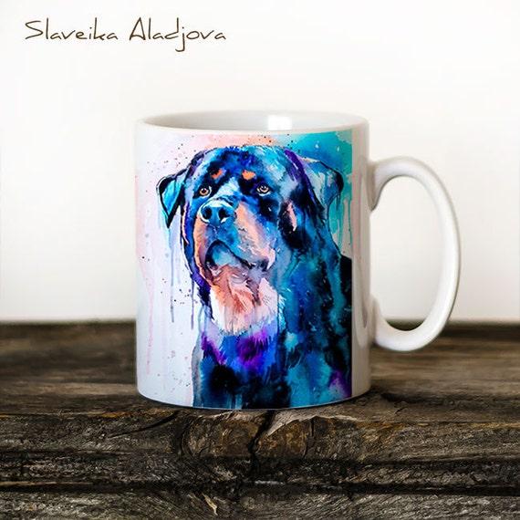 Rottweiler Mug Watercolor Ceramic Mug Unique Gift Coffee Mug Animal Mug Tea Cup Art Illustration Cool Kitchen Art Printed mug dog