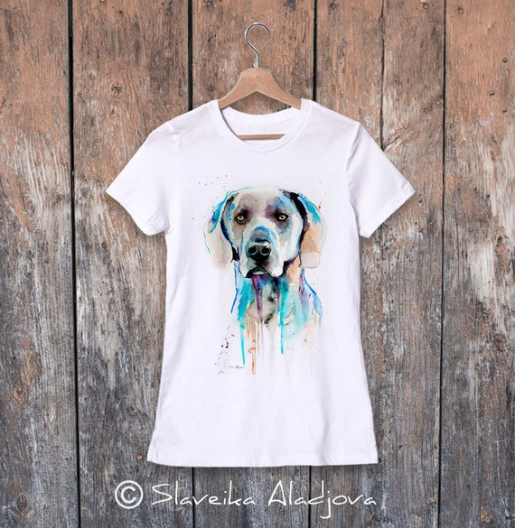 Weimaraner  watercolor ladies' T-shirt, women's tees, Teen Clothing, Girls' Clothing, ring spun Cotton 100%, watercolor print T-shirt, art