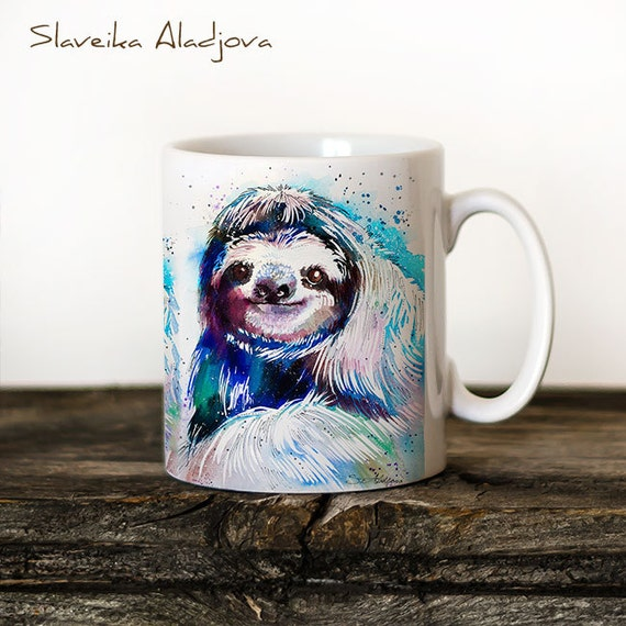 Sloth Mug Watercolor Ceramic Mug Unique Gift Coffee Mug Animal Mug Tea Cup Art Illustration Cool Kitchen Art Printed mug dog