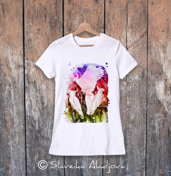 Cockatoo parrot watercolor ladies' T-shirt, women's tees, Teen Clothing, Girls' Clothing, ring spun Cotton 100%, watercolor print