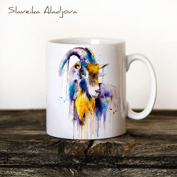 Goat Mug Watercolor Ceramic Mug Unique Gift Coffee Mug Animal Mug Tea Cup Art Illustration Cool Kitchen Art Printed mug