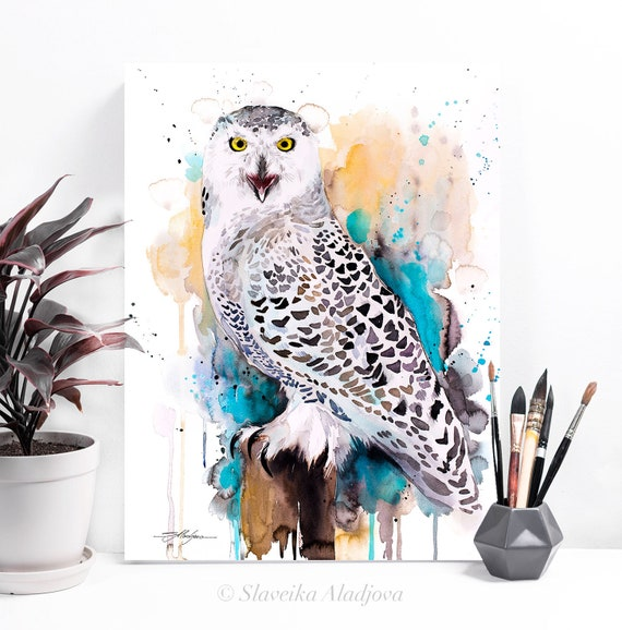 Snowy Owl watercolor painting print by Slaveika Aladjova, art, animal, illustration, bird, home decor, wall art, gift, Wildlife