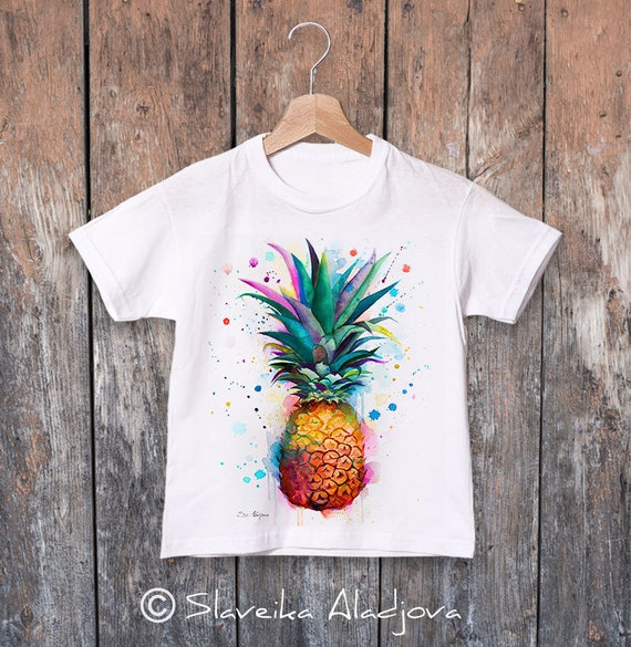 Pineapple watercolor kids T-shirt, Boys' Clothing,Girls' Clothing, ring spun Cotton 100%, watercolor print T-shirt, T shirt art