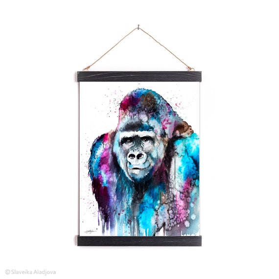 Gorilla Watercolor Painting Framed, Wall Hanging print, Animal, Home Decor, Wall Art, Illustration, Ready to Hang, Nursery, Print