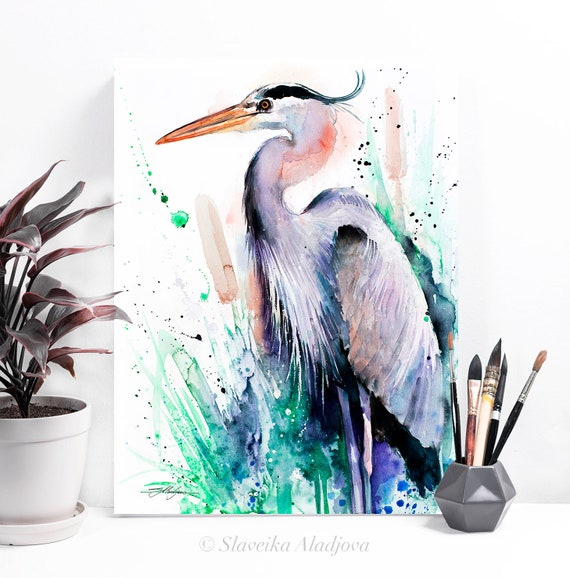 Great blue heron watercolor painting print by Slaveika Aladjova, art, animal, illustration, bird, home decor, wall art, gift, farm