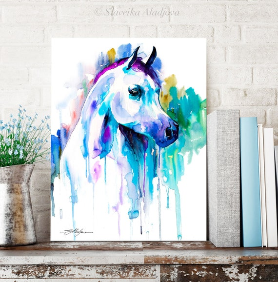 Arabian horse watercolor painting print by Slaveika Aladjova, art, animal, illustration, home decor, wall art, gift, farm, portrait