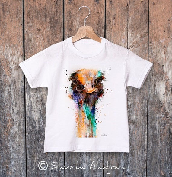 Ostrich watercolor kids T-shirt, Boys' Clothing, Girls' Clothing, ring spun Cotton 100%, watercolor print T-shirt, T shirt art