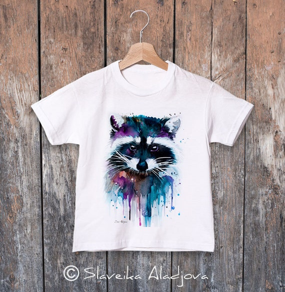 Raccoon watercolor kids T-shirt, Boys' Clothing, Girls' Clothing, ring spun Cotton 100%, watercolor print T-shirt, T shirt art