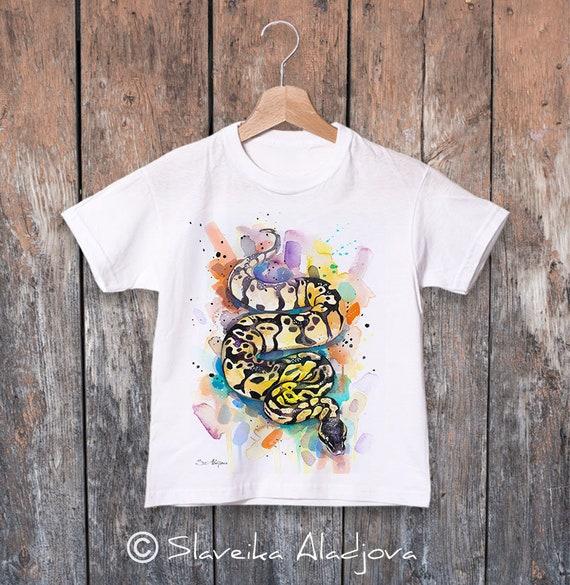 Pastel Ball Python watercolor kids T-shirt, Boys' Clothing, Girls' Clothing, ring spun Cotton 100%, watercolor print T-shirt, T shirt art