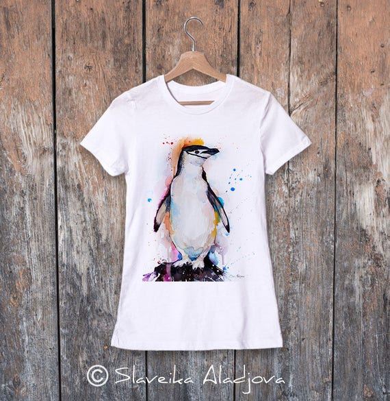 Chinstrap penguin watercolor ladies' T-shirt, women's tees, Teen Clothing, Girls' Clothing, ring spun Cotton 100%, watercolor print
