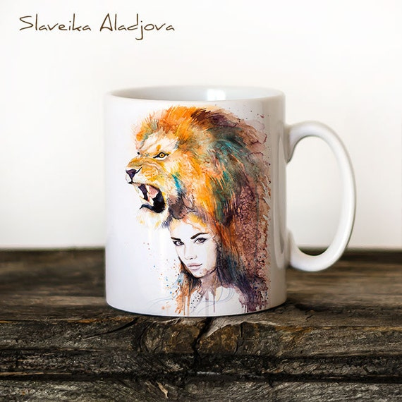Lion Girl Mug Watercolor Ceramic Mug Unique Gift Coffee Mug Animal Mug Tea Cup Art Illustration Cool Kitchen Art Printed mug