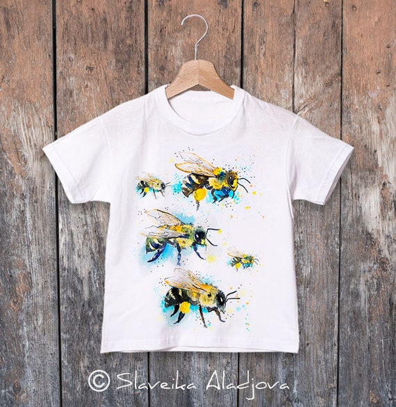 Bees 2 watercolor kids T-shirt, Boys' Clothing, Girls' Clothing, ring spun Cotton 100%, watercolor print T-shirt, animal, illustration