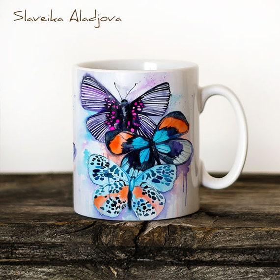 Butterflies 3 Mug Watercolor Ceramic Mug Unique Gift Coffee Mug Animal Mug Tea Cup Art Illustration Cool Kitchen Art Printed mug