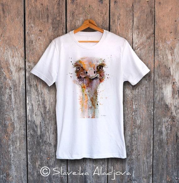 Ostrich T-shirt, Unisex T-shirt, ring spun Cotton 100%, watercolor print T-shirt, T shirt art, T shirt animal, XS, S, M, L, XL, XXL