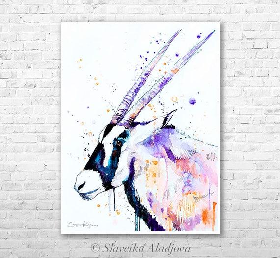 Gemsbok watercolor painting print by Slaveika Aladjova, animal, illustration, home decor, wall art, gift, portrait, Contemporary, Antelope